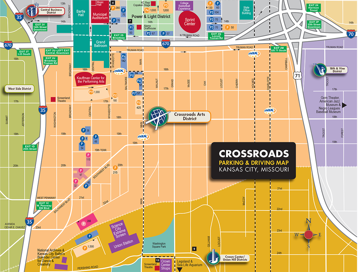 Crossroads District Parking Map – Kansas City Tourist Attractions Map