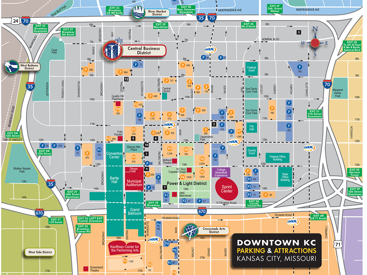 Downtown Parking Map – Tourist Attractions Map In Kansas