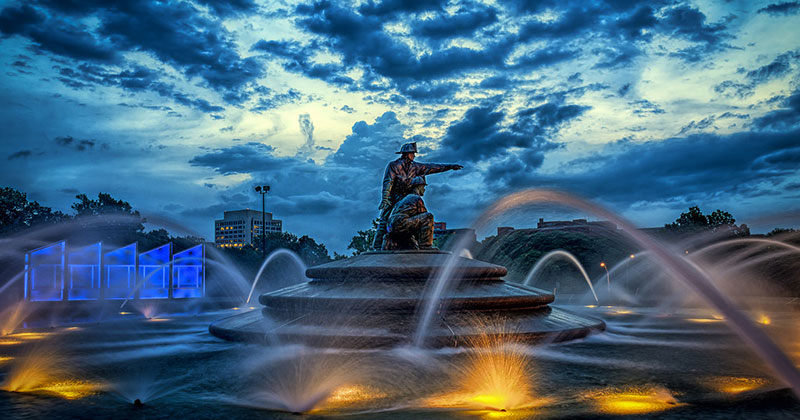 The Firefighters Fountain and Memorial Kansas City