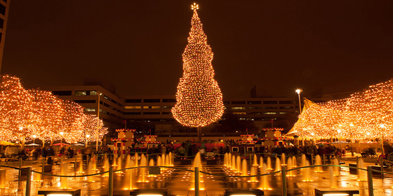 Image result for city Christmas tree