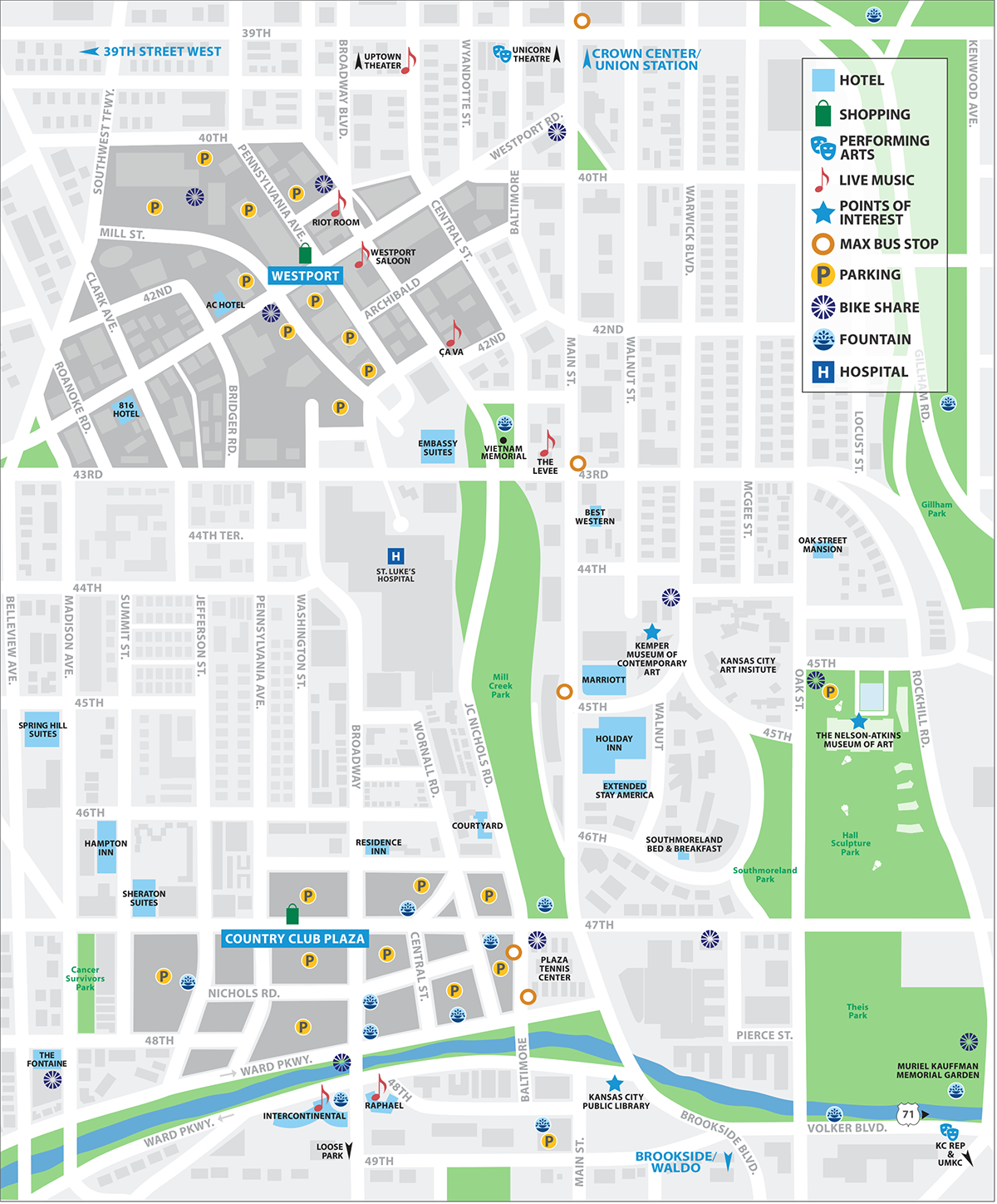Country Club Plaza & Westport Map | Visit KC