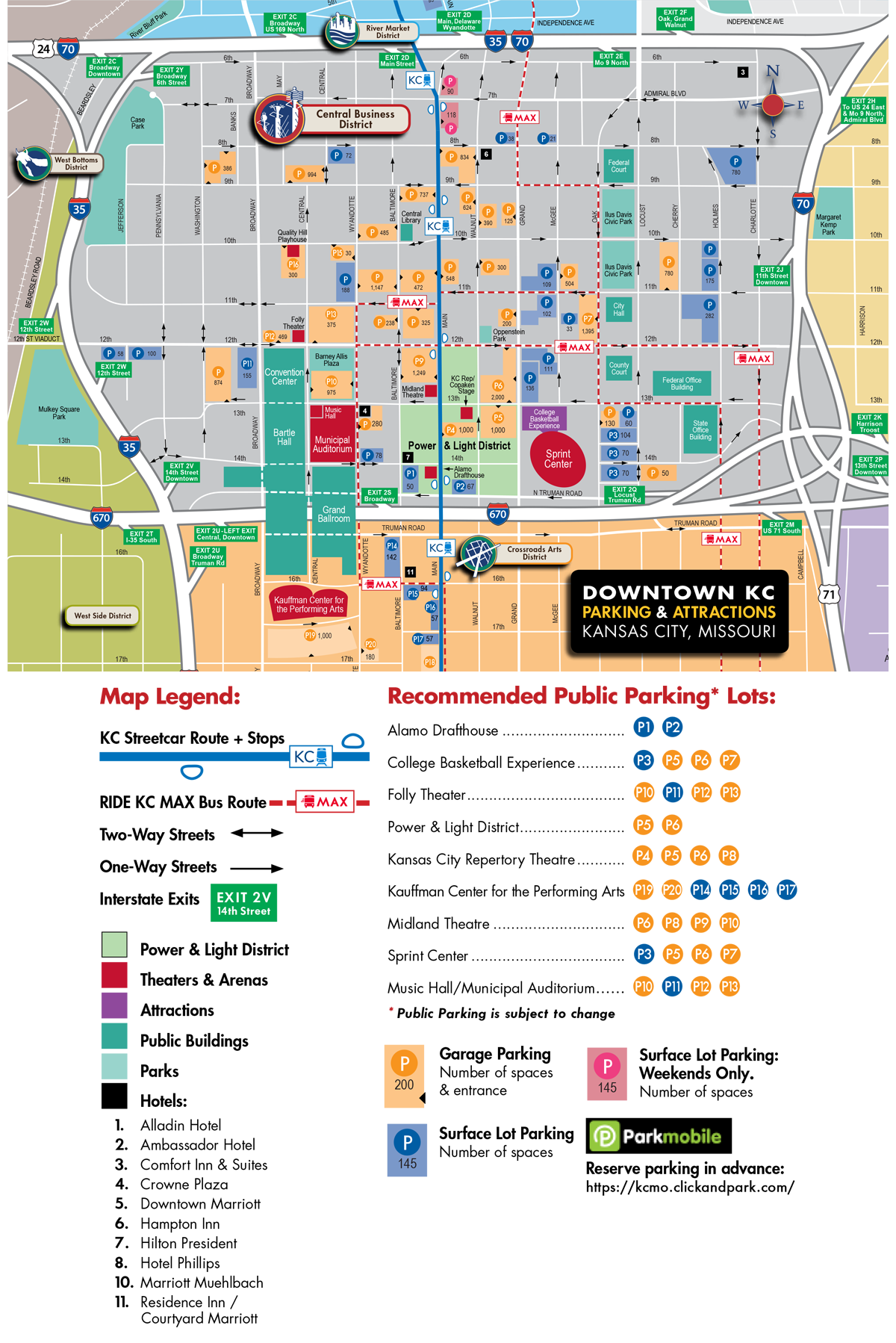Downtown Kansas City Parking Map Visit KC - Map of kansas