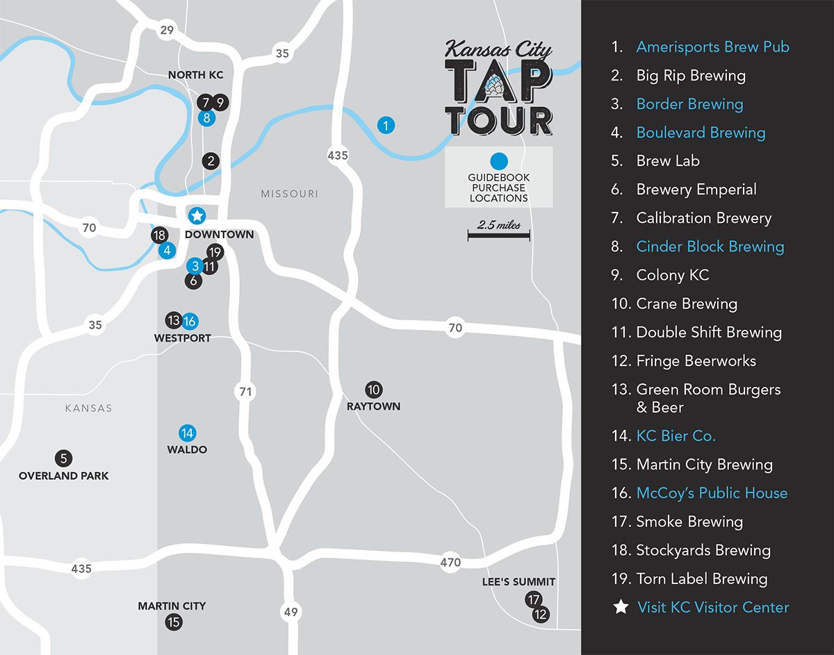KC Tap Tour Map of Breweries