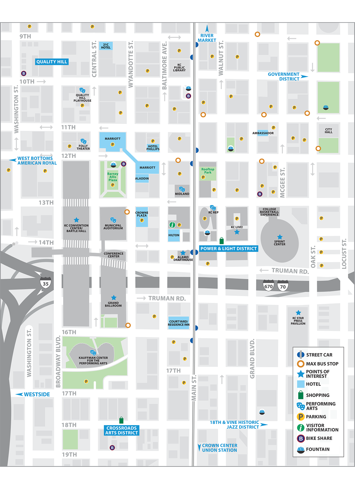 map of downtown kansas city mo. downtown kansas city map  visit kc
