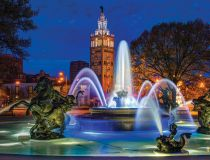 JC Nichols Fountain at night by Jonathan Tasler