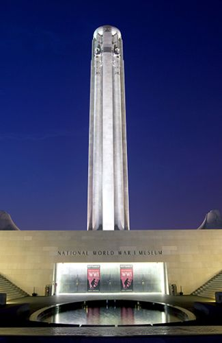 night view of Liberty Memorial and the National World War 1 Museum