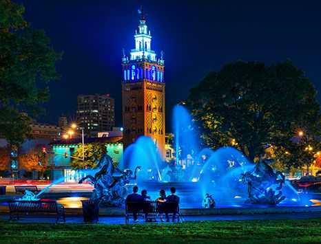 JC Nichols Fountain at night by David Arbogast